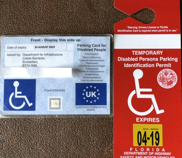 red and blue disabled parking placard